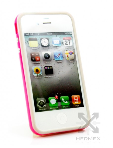 iphone 4 4s bumper handyh lle case pink weiss apple. Black Bedroom Furniture Sets. Home Design Ideas
